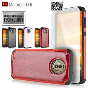 For Motorola MOTO G6/ XT1925 Hybrid Shock Proof Bumper Slim Case w/ Glass Screen
