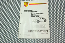 Porsche 911 930 Turbo Informations Technique Original Manuel D'Atelier