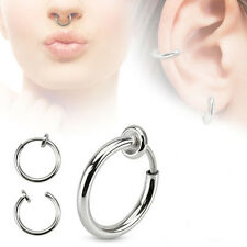 Action Rhodium Plated Septum piercing 13mmx13mm 2 Pc 16g Fake Septum Spring