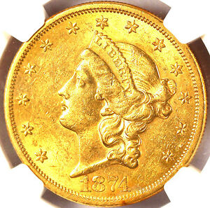 1874-S $20 AU58 NGC -Liberty Head