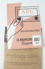 AEG Rundfunkgeräte Bedienungsanleitung 3 D Raumklang super 6067SW Manual B6833