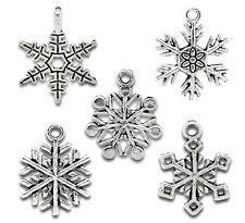 50 Mixed Silver Tone Christmas Snowflake Charm Pendants