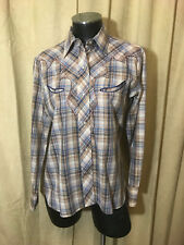 Women Vtg 70s Kenny Rogers Western Blouse 11/12 Blue Plaids Long Sleeve poly/cot