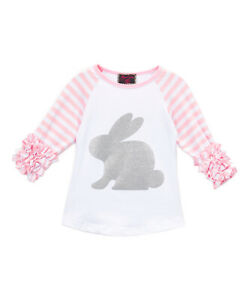 NEW Baby Girls Silver Easter Bunny Pink Ruffle Sleeve Shirt 6-12 Months