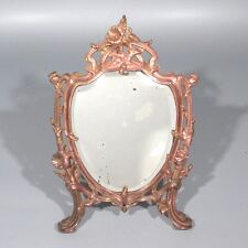 Antique French Period Art Nouveau Beveled Mirror, Thistle Morning Glory Pattern