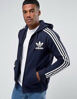 Adidas Originals Gr. L Herren Sweatjacke HOODIE Trefoil Navy Kapizenjacke Zip