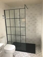 900mm Black Grid Design Glass Wet Panel for shower areas