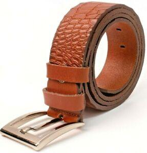 PASSION Men Top Genuine Cowhide Leather Casual Dress Jean Belt Gunmetal Buckle