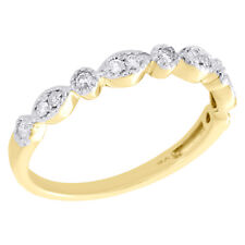 10K Yellow Gold Diamond Teardrop Milgrain Edge Stackable Right Hand Ring 1/6 Ct.