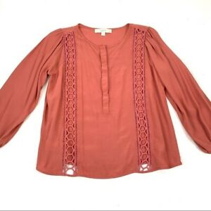 Loft boho rayon top with embroidered open lace detail, women's size medium