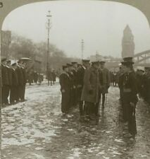 F.M.Earl Haig inspecting sailors who took part in raids on Ostend - Stereoview