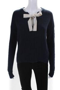 Whistles Womens Long Sleeve V-Neck Sweater Dark Blue White Size X-Small