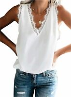 BLENCOT Women's V Neck Lace Trim Tank Tops Casual Loose, A White, Size X-Large X