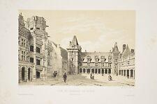 Lithographie XIX° Monthelier Chateau Blois Architecture Renaissance