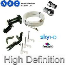 Sky Upgrade Kit - 25m Twin White Shotgun Cable,Quad LNB