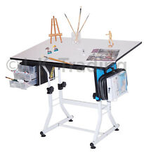Drafting Table Drawing Table Hobby Art Drawers Adjust Height Tilt Levelers CC