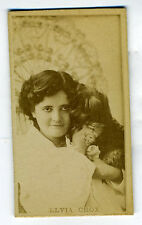 1880s Photographic Virginia Brights Cigarette Card of Elvia Crox holding Dog
