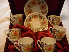 COFFEE & ESPRESSO , 6 PIECES COFFEE SET,HAND MADE,HAND PAINTED, GOLD PLATED