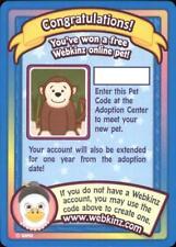 Webkinz MONKEY SERIES 1 PET CODE Trading Cards Series One Adoption Code UNUSED
