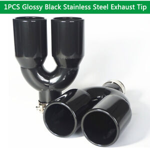 """Glossy Stainless Steel Exhaust Tip Pipe Dual Wall Round 2.5"""" Inlet 3.5"""" Outlet"""