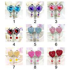 Rhinestone Heart Clip On No Piercing Stud Earrings For Kids Children Girls UK