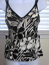 Miraclesuit Tankini Swim Suit Top Black White Sz 8