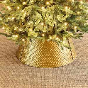 """Glitzhome Hammered Metal Christmas Tree Collar Decorations, 22"""" D, Gold"""