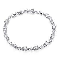 Luxury 925 Silver Clear Cubic Zircon Tennis Flower Charm Bracelet as Women Gift