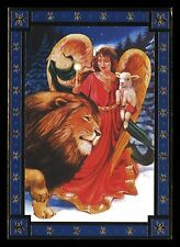 662-GC ANGEL LAMB LION Unused Vintage Christmas Greeting Card PAPER MAGIC GROUP