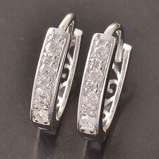 White Gold Filled clear CZ Womens Fashion U-Shape lucky Hoop Earrings korean