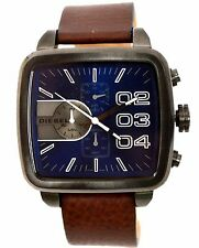 NWT Diesel DZ4302 Double Down Square Chronograph Men's Navy Dial Brown Strap