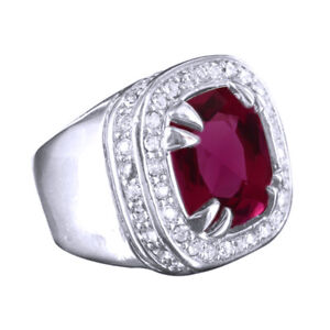 14K Gold Finish Red Ruby Mens New Signet Style Solitaire Ring