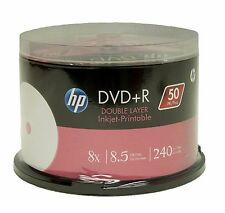 50 HP White Inkject Printable DVD+R DL 8X 8.5GB 240 minute New(FREE shipping)