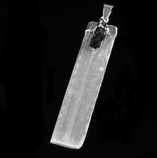 Black Tourmaline SELENITE Crystal Chakra Pendant & 925 Sterling Silver Necklace