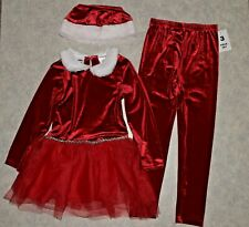 NWT Girls size 6 Velour Faux Fur Trim Tulle Ruffle Dress Top, Pants & Hat Outfit