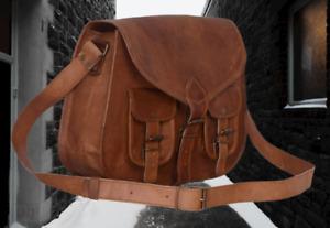 women's genuine leather vintage handmade soldier satchel bag ladies sling bag