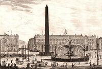 Gravure XIXe Obélisque de Louxor Egypte Paris Place de la Concorde 1848