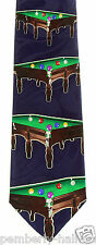 Billiards Tables Mens Necktie Pool Ball Game Table Cue Rack Blue Neck Tie New