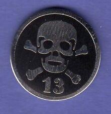 SKULL & CROSSBONES 13 HAT PIN LAPEL TIE TAC ENAMEL BADGE #1547