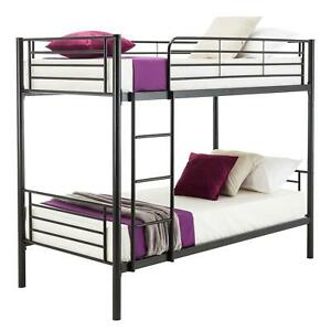 Metal Twin over Twin Bunk Beds Frame Ladder Kids Adult Children Bedroom