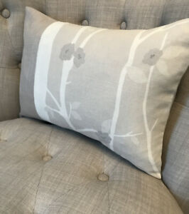 """11.5x16"""" Panelled Cushion Cover In Laura Ashley Cottonwood Natural/Bacall Marble"""