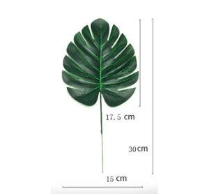 12pcs Artificial Tropical Palm Leaves Silk Plastic Fake Leaf Wedding Home Decor