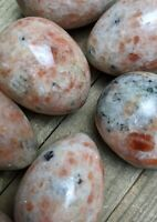 ONE (1) Small Flashy SUNSTONE Egg Crystal Stone Reiki Charged *Read Below*