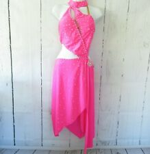 New Ballroom In Motion Dress S Pink Crystal Salsa Latin Dancing Competition