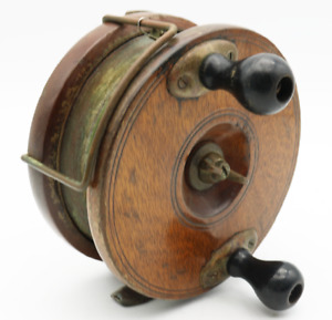 LARGE Vintage WOOD and Brass Fishing REEL