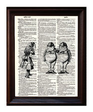 Tweedle Dee and Dum - Dictionary Art Print Printed On Authentic Vintage