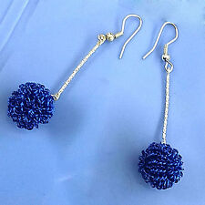 Womens Ladies Junior Fashion Jewelry Blue Wire Ball Dangle Hoop Earrings #800029