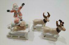 Set of 4 1985 Mini Fitz And Floyd Christmas Santa Reindeers Sleigh Figurines