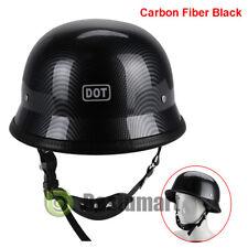 DOT Motorcycle Matte Black German Half Face Helmet Chopper Cruiser Biker M/L/XL