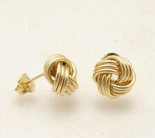 Italian Love Knot Rosetta Stud Earrings with Push Back Post Real 10K Yellow Gold